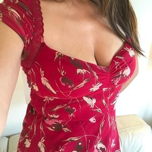 Bcbg Floral Red Dress
